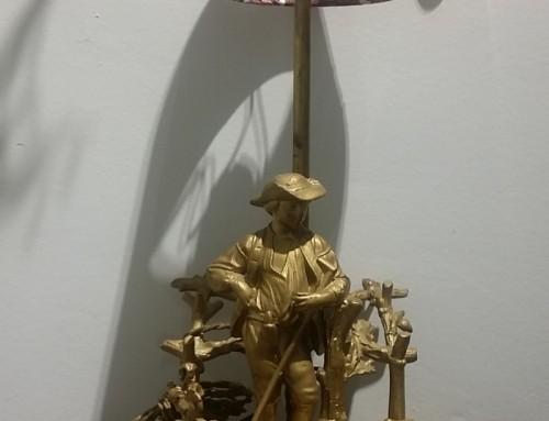 Lámpara francesa. Antiguo tintero sobremesa Napoleón III. circa 1860