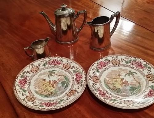 Pareja platos porcelana de Longwy